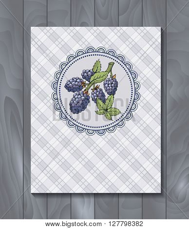 Vector restaurant brochure, menu design. Vector cafe template with hand-drawn graphic. Food flyer. Blackberry with branch and leaves on the checkered  background.  Wood backdrop.