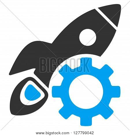 Rocket Development vector icon. Style is bicolor flat icon symbol, blue and gray colors, white background.