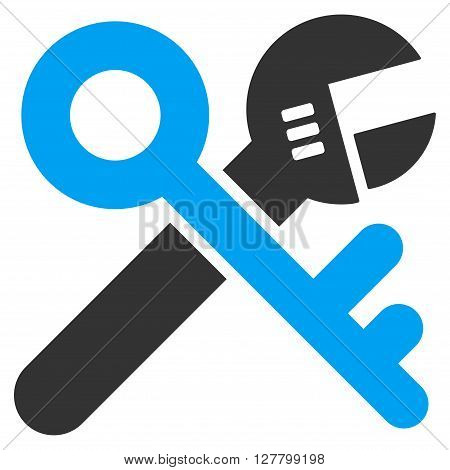 Security Options vector icon. Style is bicolor flat icon symbol, blue and gray colors, white background.