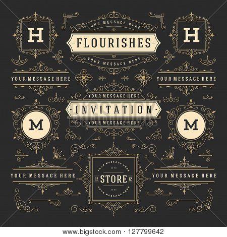 Vintage Vector Ornaments Decorations Design Elements. Flourishes calligraphic combinations Retro Logos, Royal Greeting cards, Crest Ornament Frames, Invitations.