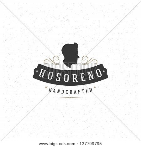 Man Head Design Element in Vintage Style for Barber Shop Salon Logo or Label Retro vector illustration. Men Head and Hairstyle Silhouette.