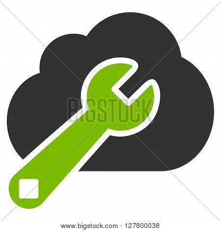 Cloud Options vector icon. Style is bicolor flat icon symbol, eco green and gray colors, white background.