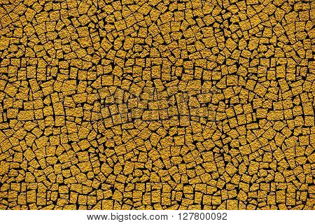 Golden Revetment Wall Putty Macro Texture Background Mosaic Styled