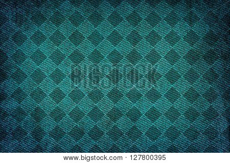 Turquoise Fabric Woven Texture High Contrasted With Vignetting Effect Macro Background Rhombus Style