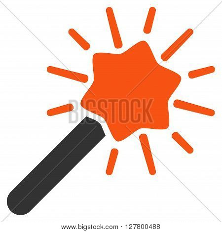 Wizard Wand vector icon. Style is bicolor flat icon symbol, orange and gray colors, white background.