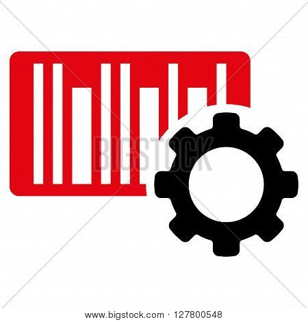 Bar Code Setup vector icon. Style is bicolor flat icon symbol, intensive red and black colors, white background.