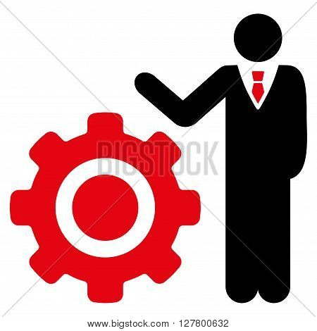 Engineer and Gear vector icon. Style is bicolor flat icon symbol, intensive red and black colors, white background.