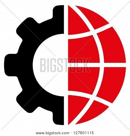 International Manufacture vector icon. Style is bicolor flat icon symbol, intensive red and black colors, white background.