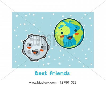 Best friends. Kawaii space funny card. Doodles with pretty facial expression. Illustration of cartoon earth and moon.