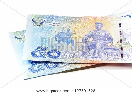 Closed up Thai banknote fifty baht isolated on white background