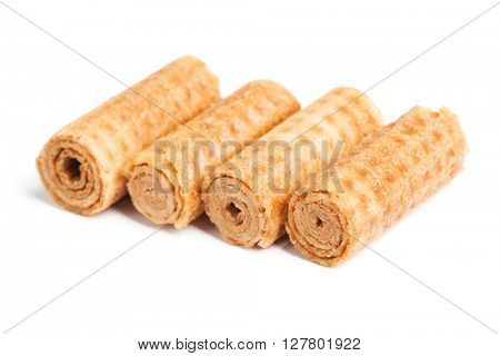 Sweet tube wafer isolated on white background