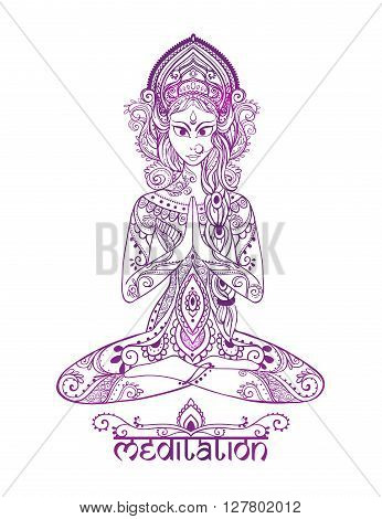 Ornament beautiful card with Vector yoga. Geometric element hand drawn. Balance karma medallion yoga india arabic harmony physical exercise for web sites banners, business cards clothing logo
