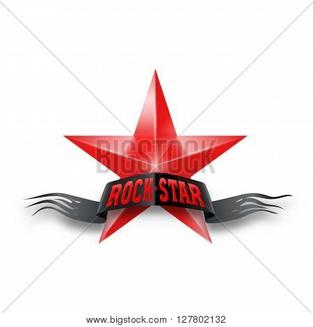 Red star with black torn Rock Star banner. Illustration on white background