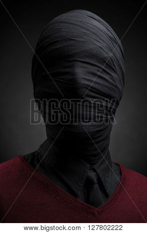 Black Art, A Man In A Red Suit, Tied Head, Loneliness, Depression