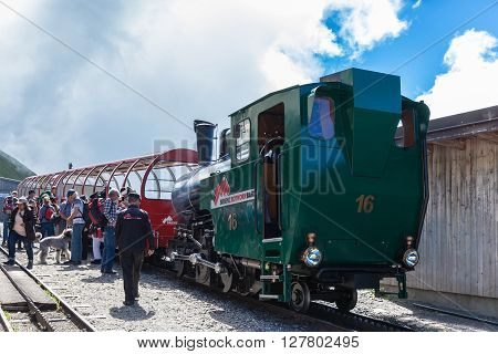 Brienz Switzerland - June 28 2015 - Tourists arrived the station at the top of Brienzer Rothorn by the steam train from Brienz on Bernese Oberland Canton of Bern in Switzerland.