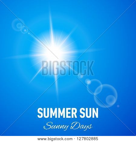 Blue summer background with glaring sun and lens flare