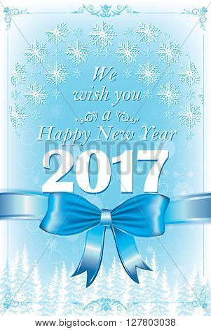 Happy New Year 2017 greeting card, also for print. Contains snowflakes, blue elegant ribbon and winter landscape. Custom size for a printable postcard.