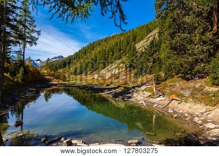 Beautiful Pond Above The Loetschental Valley