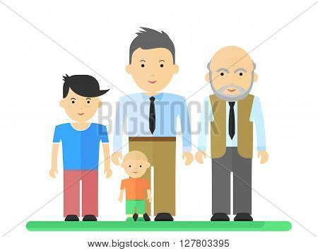 Big Family Man And Boy