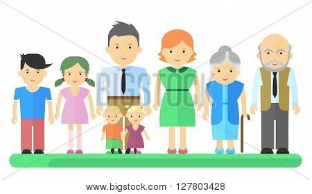 Big Family Man Woman And Children