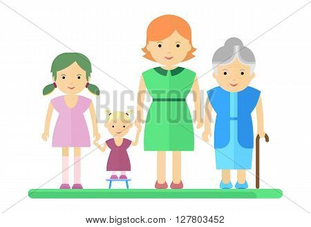 Big Family Woman And Girl