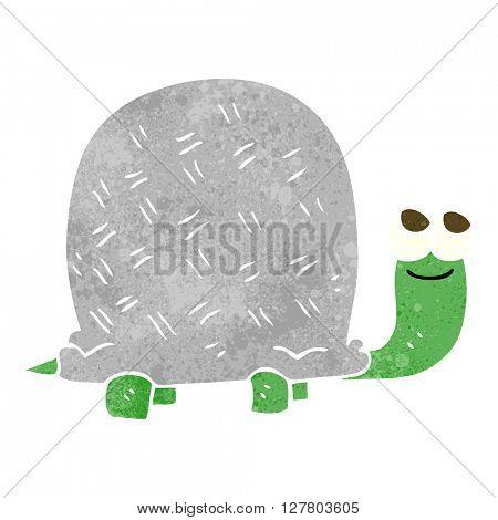 freehand retro cartoon tortoise