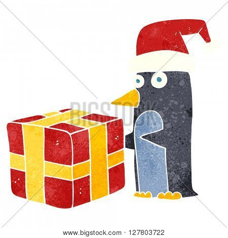 freehand retro cartoon christmas penguin with present