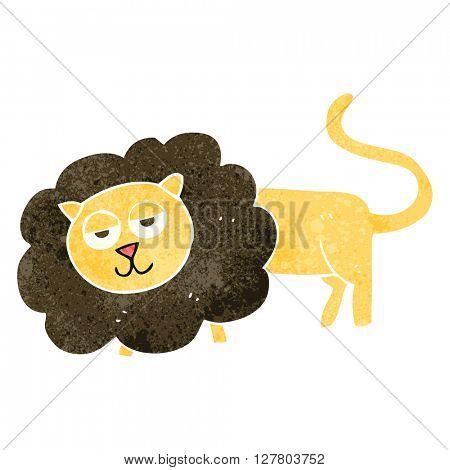 freehand retro cartoon lion