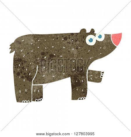 freehand retro cartoon bear