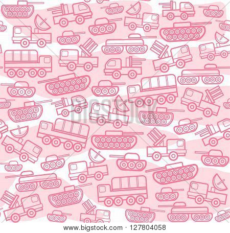 Vector seamless background with military equipment on a white field with pink spots. Pink, linear icons. Color, flat pattern.