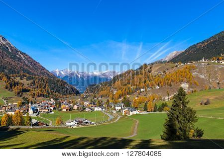 Beautiful View Of Grisons In Autumn