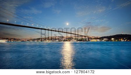 Bosphorus Bridge at the night. Istanbul. Turkey.