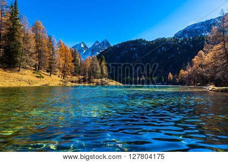 Beautiful View Of Lake Palpuogna In Autumn