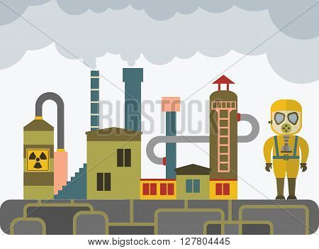 Man in a gas mask at a chemical plant