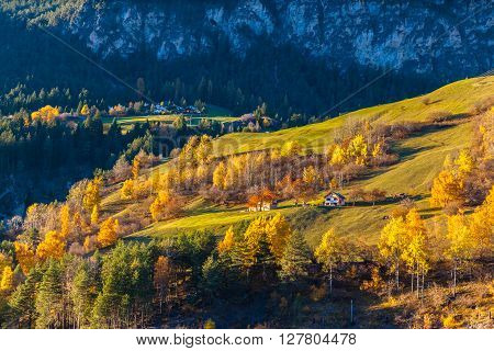 Panorama View Of Swiss Countryside In Autumn