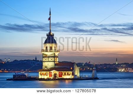 Maiden's Tower at the sunset. Turkey Istanbul.