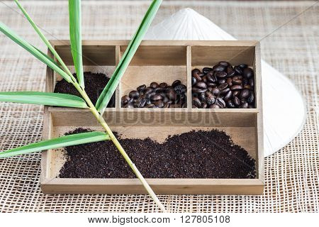 Roasted vietnamese coffee Robusta in wooden box