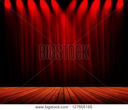 spotlight on stage with curtain background