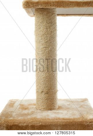 Scratching post for cats over isolated white background