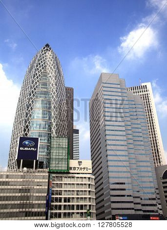 TOKYO, JAPAN - AUGUST 5, 2015: Skyscraper of Shinjuku in Tokyo on August 5, 2015 in Japan. It is the bustling capital and commercial hub in Japan.
