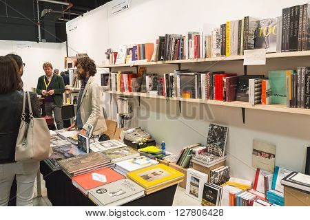 MILAN ITALY - APRIL 29: Books on dispaly at MIA international photography and moving image art fair on APRIL 29 2016 in Milan