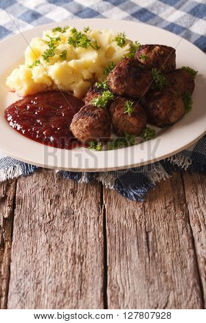 Swedish Meatballs Kottbullar With A Side Dish Mashed Potato Closeup. Vertical