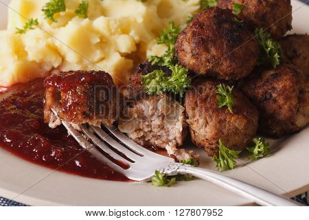 Swedish Food: Meatballs Kottbullar, Lingonberry Sauce And Mashed Potatoes Macro. Horizontal