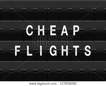 Airport split-flap board with cheap flights text