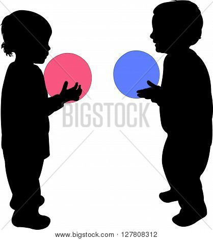 two children playing with ball, silhouette vector