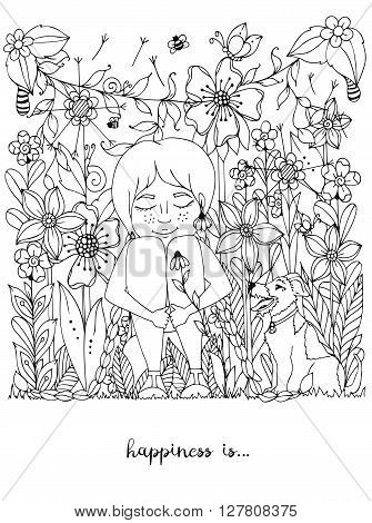 Vector illustration zentangl girl with freckles sitting in the flowers on the grass with a dog fox terrier. Doodle flowers, dandelion, frame, forest, garden, grass. Coloring book anti strees for adults. Black White.