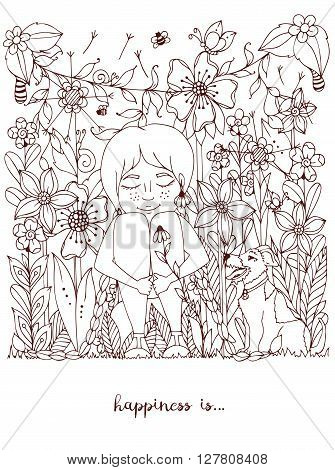 Vector illustration zentangl girl with freckles sitting in the flowers on the grass with a dog fox terrier. Doodle flowers, dandelion, frame, forest, garden, grass. Coloring book anti strees for adults. Brown  White.