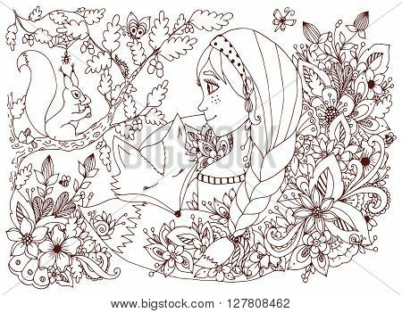 Vector illustration zentangl girl with freckles looking at the squirrel, sleeping face in the flowers. Cartoon, child, forest dwellers. Doodle flowers. Coloring book anti stress for adults. Brown  and white.