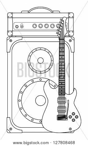 Rock electric guitar and amplifier for concerts and festivals outlined and in black and white