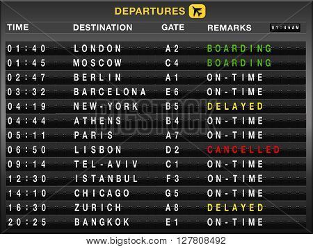 Airport split-flap board with departures flight list